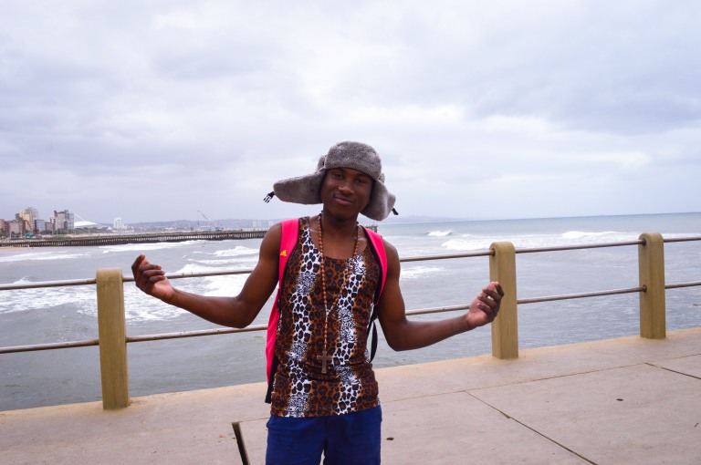 Cool teen poses on the beach in Durban 2015
